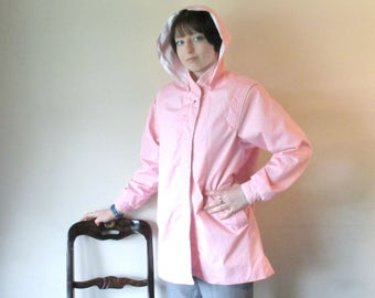 Vintage 1980s Jacket with Hood, Pink Windbreaker, Womens Rain Jacket, Current Seen Apparel, Size Medium, Vintage Spring Jacket
