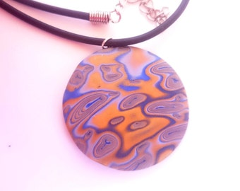 Round pendant necklace_unique handmade mokume gane polymer clay jewellery