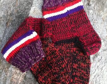 Grandmother socks, traditional socks,   Knitted socks, socks, unisex socks, red socks, hand knitted socks, colorful socks