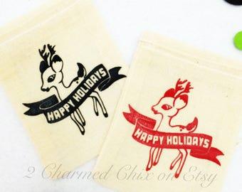 Reindeer Party Bag/Reindeer Goody Bag/Reindeer Thank You Bag/Drawstring Party Bag/Christmas Party Bag/Happy Holiday Party Bag/Rudolph Party