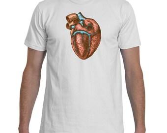 Heart Illustration White TShirt Men