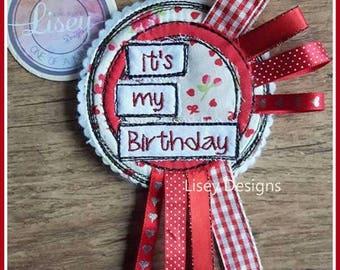 Digital File: 'it's my Birthday' Raw Edge Applique Birthday Badge ITH 4x4 hoop
