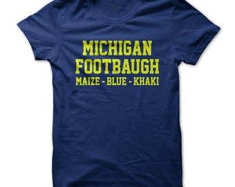 Michigan Footbaugh T-Shirt Design - Navy Shirt with Gold Print