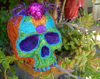 Glitter Skull with Spider