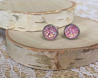 Druzy Earrings - 8mm - Pink