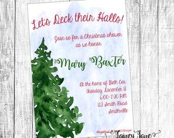 Bridal Invitation, Bridal Shower Invitation, Customized Shower Invitation, Christmas Shower Invitation, Christmas Shower, Christmas Bridal