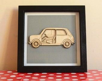 Classic Mini Framed 3D Artwork, Mk1, Cooper - Lasercut.