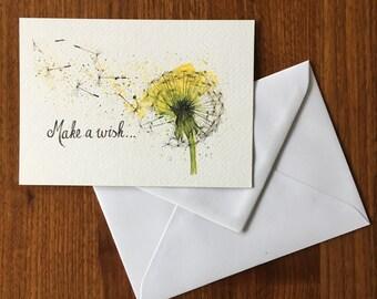 Make a wish ...-greeting card illustration by Anke van Horne-blank rear-includes envelope