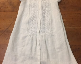 Upcycled Linen Dress - Size 2T - Refashioned from Ladies Linen Shirt