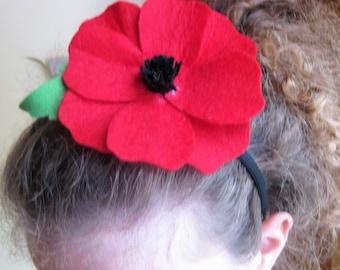 girl flowers headband felt hair accessory red poppy, girl birthday gift , baby showers, Wedding bridesmaid jewel , flower girl  wreath