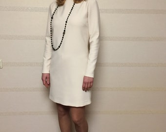 White dresse/ Special occasion dress/ wool dress/ powder dress/ long sleeve dress