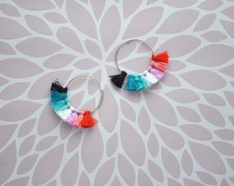 Ombre Thread Tassel Hoop Earrings