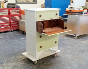Repainted Vintage White and Green Dresser/Desk