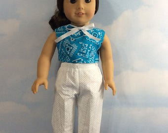 "Country blue capris set for 18"" American girl doll"