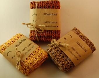 Washcloth 100% cotton all natural handmade crochet washcloths wash cloth