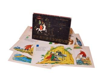Lot 1, Quantity 16 Vintage Postcards Set Collection Pushkin Fairy Tales In Illustrations 1969 Memorabilia