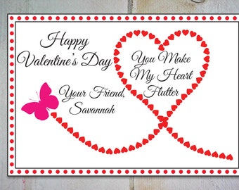 Printable Classroom Butterfly Valentine ~ Editable Heart Valentineu0027s Tag ~  Children Valentine Exchange