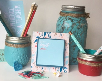 mason jar desk set seafoam green and barn red womens desk accessories mason