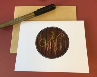 Bourbon Barrel note cards, can be personalized with initials