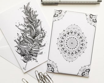 Illustrated Greeting Cards Set, Handmade Cards, Hand drawn Cards, Zentangle Greeting Cards, With Love Greeting Cards, Holiday Cards Set