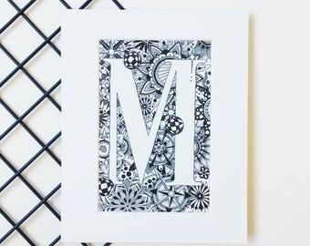 Custom Monogram Letter Print, Alphabet Art Print, Zentangle Initial, Letter M, Mounted Wall Art, Newborn Gift, Affiche Scandinave Typography