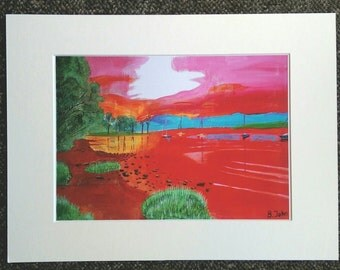 """Ullswater in Red- A4 0r 7"""" x 5"""" Print of an Original Painting by Bryan John"""