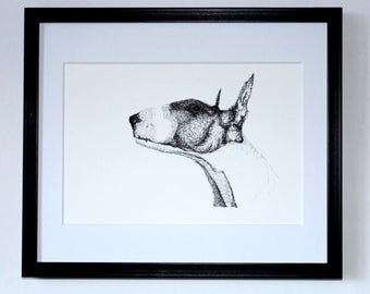 English Bull Terrier. Wall art. Contemporary.  Illustration. Gift for friend.  Decoration. Original drawing. Pen and ink.