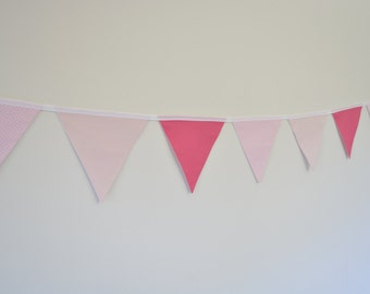 Fabric Baby Girl Bunting, Pink, Polka Dots, Spots, Baby Girl Nursery Bunting, Wall Decor Baby Shower, Birthday Party, Nursery Decor