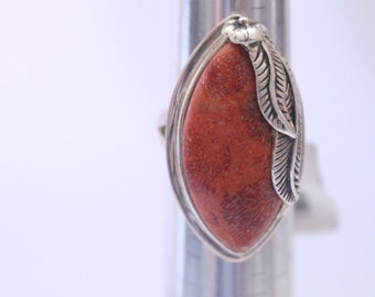 Red Coral 925 Sterling Silver Ring Size 7