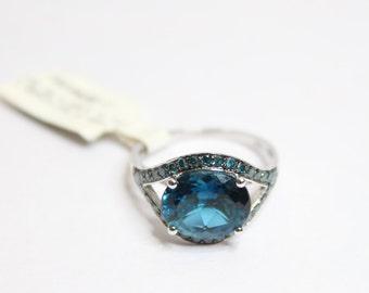 10k White Gold 4.53ctw Brazilian London Blue Topaz Ring Size 7