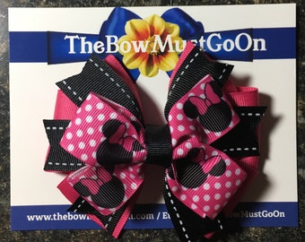 Bright Pink and Black Minnie Bow/Minnie Mouse Bow/Stacked Minnie Bow/Boutique Bow/Pink Bows/Black and Pink Bows/Disney Hair Bows