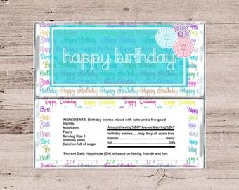 Multi Colored Happy Birthday Chocolate Bar Wrapper-Multi Colored Candy Bar Wrapper-Chocolate Wrapper-Candy Wrapper-Happy Birthday Wrapper
