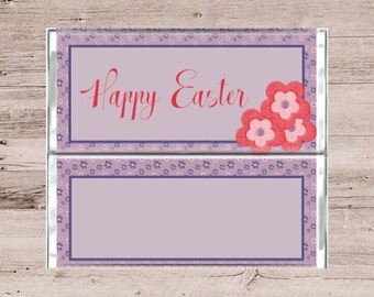 Purple Flower Happy Easter Chocolate Bar Wrapper-Purple Flower Happy Easter Candy Bar Wrapper-Happy Easter Candy Wrapper-Chocolate Wrapper