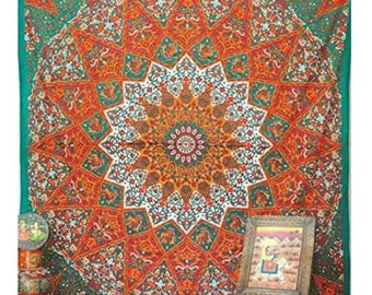 Mandala Tapestry - Boho Queen-Size Design perfect as a Lightweight Bedspread, Wall Hanging, Table Cloth, Picnic Blanket, & for Home Decor