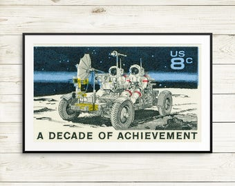 Apollo project moon landing, NASA poster moon buggy, kids room space prints, vintage astronaut wall art, US postage stamp art prints