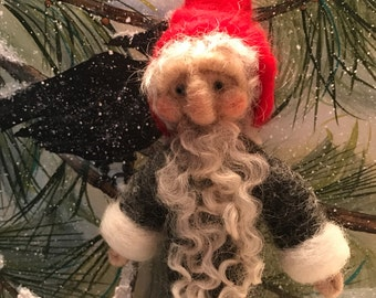Needle felted Christmas Gnome in Charcoal and red Medium
