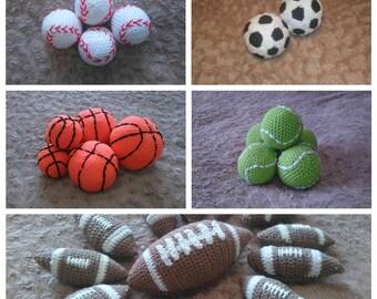 Mini Stress Relief Ball Crochet Football Toy Crochet Baseball Sport Mini Soft Ball Basketball Tennisball Handmade Knitted Gift Baby Boy Girl
