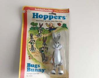 Vintage Bugs Bunny Hoppers White Knob Wind Up Knickerbocker Preschool 1978 Collectible Toy Looney Tunes