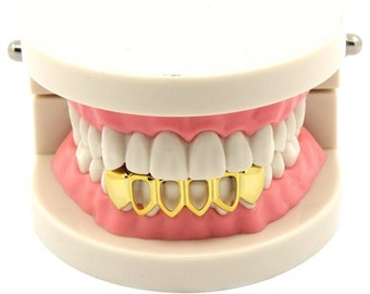 14k gold plated hollow bottom grillz