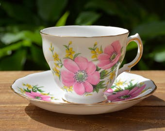 Vintage Tea Cup Set by Royal Vale, Tea Cup and Saucer Set, English Bone China, Bridal Tea, Bridal Tea Party, Made in England, Pink Floral