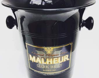 Beer bucket, ice bucket, made in Belgium for Belgian beer Malheur Dark Brut in black plastic. Accessory bar, vintage bar.
