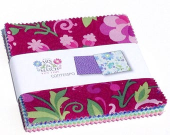 Fabric, Charm Pack,  Mix & Match Collection, E. Vive for Benartex Fabrics, quilting fabric,
