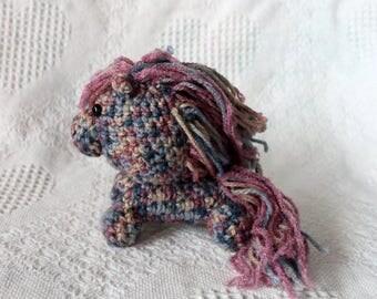 Mini Tweed Pony Plush, Crocheted plush, Amigurmi, horse plush, stuffed animal, knitted stuffy