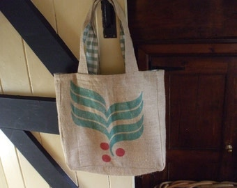 Recycled coffee sack tote bag