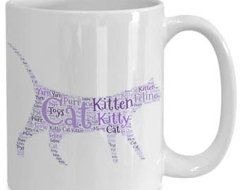 CAT LOVER'S GIFT! A take on a cat lover's gift with this 15 oz white ceramic coffee cup / tea cup / coffee mug / pencil holder!