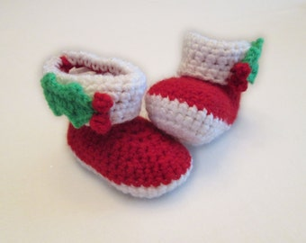 Holly Berry Baby Booties