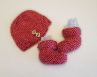 Salmon Baby Bootie and Hat Set