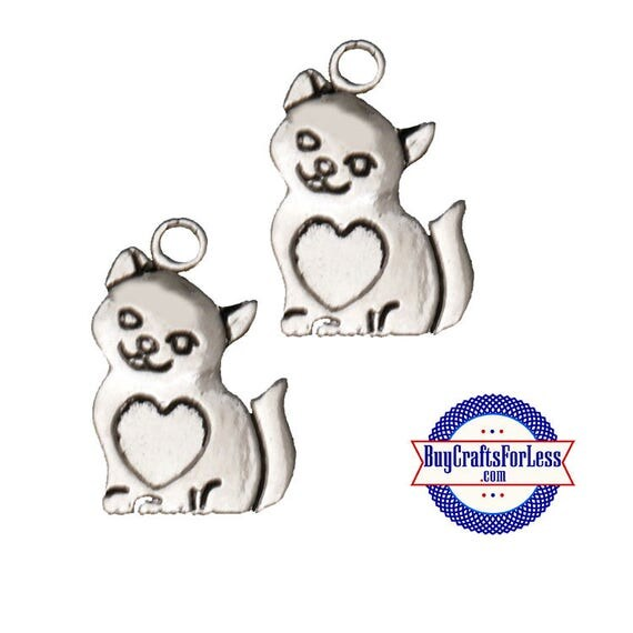 Kitty with Heart Charms, silver alloy, 6 pcs  **FREE Shipping for orders 10dollars +**