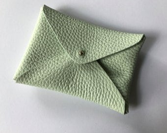 Handmade leather card purse - pastel mint envelope