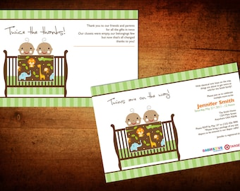 Twins baby shower invitation and thank you.